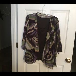 Brown cami with multi jacket